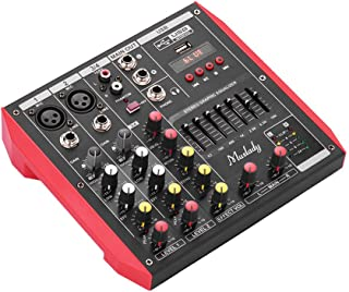 Kalaok Muslady D4 Portable 4-Channel Mixing Console Mixer 7-band EQ Built-in 48V Phantom Power Supports BT Connection USB MP3 Player for Music Recording DJ Network Live Broadcast Karaoke