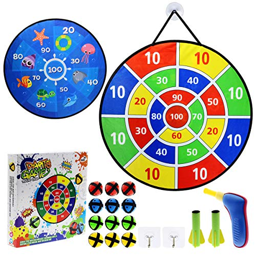 Maburaho 26 Inches Toys Dart Board Game for Kids and 12 Sticky Balls and 2 Dart Bullet SetToy for Boys and Girls Safe Dartboard Indoor and Outdoor Sports Game Toys Gifts for Kids Box