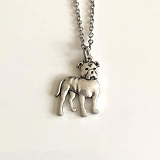 Stocky Pitbull Terrier Dog Necklace - Natural Ears - Pit Bull Dog Breed Jewelry - Gift for Dog Lover