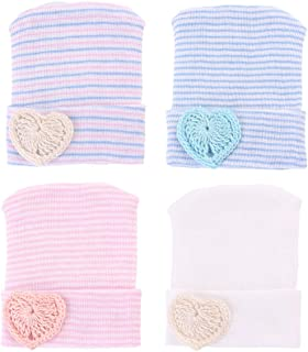 Yinuoday Newborn Baby Hospital hat Infant Nursery Beanie Hat Cap Stripe Knit Cap with Big Bow