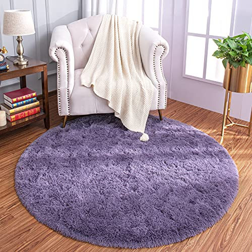 LOCHAS Luxury Round Fluffy Area Rugs for Bedroom Kids Nursery Rug Super Soft Living Room Home Shaggy Carpet 4-Feet , Grey Purple