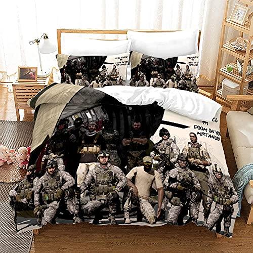 Aatensou Ropa de cama Call of Duty, agradable al tacto y fácil de limpiar, microfibra, para cama individual, doble, adecuada para todas las estaciones (M3,220 x 240 cm + 50 x 75 cm x 2)