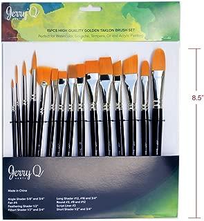 Jerry Q Art 15 pcs Golden Taklon Brush Set for Acrylic, Tempera, Watercolor, Oil Painting, Silver Ferrule with Violet Short Wooden Handles JQ151