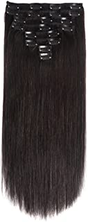 Lovbite Hair Clip In Human Hair Extensions Double Weft 24Inch Brazilian Clip on Extensions Straight Hair Grade 8A Unprocessed Remy Hair 8Pieces/Lot 20Clips(24