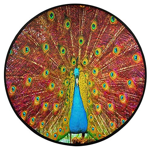 Alfombra redonda de 3 pies de pintura de pavo real animal antideslizante alfombra circular alfombra de piso de cocina lavable para silla alta, dormitorio, sala de estar, estudio