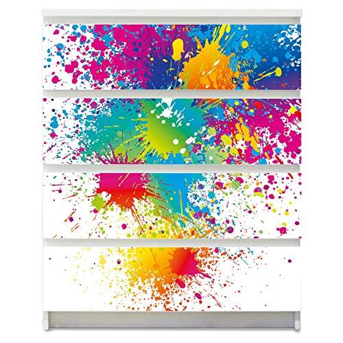 banjado Möbelaufkleber für Kinder-Zimmer | Selbstklebende Möbelfolie passend für IKEA Malm Kommode | Wandtattoo Deko mit Design Farbspritzer für 4 Schubladen