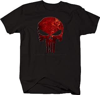 Punisher Skull Fire Burning Red Vintage Military Graphic T Shirt for Men