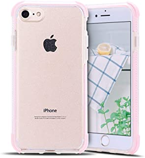 Anfire-ES Funda para iPhone 7/8 Silicona Case, Transparente Carcasa de Suave Flexible Gel TPU Tapa Ultra Ligero [Esquinas Reforzadas] Bumper Caja Claro Protector Caso Cubierta Trasero - Rosa