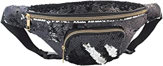 Mermaid Sequin Fanny Pack for Women Flip Sequin Waist Bag Bum Bags with PU Leather, Quality Enhanced Edition
