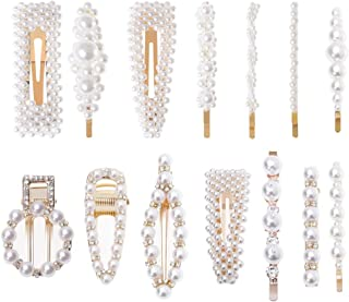 Cridoz 14 Pcs Pearl Hair Clips Artificial Pearl Hair Barrettes Hair Pins for Women Girls Hair Styling Tools Accessories