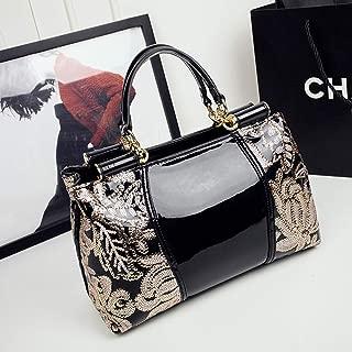 Rjj Handbag/Men's Shoulder Bag/Leather Bag/Platinum Bag/Plastic Leather Business Bag Exquisite (Color : Black)