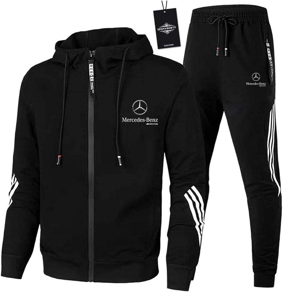 Herren und Damen Trainingsanzug Für Mercedes-Ben.Z A.M.G Zweiteilige Jacke Pants Stripe mit Kapuze Sportanzug Mantel