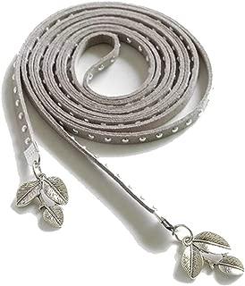 Fashion New Ladies Thin Belt Sweet Dress Waist Chain Leaf Pendant Decorative Waist Rope Candys house (Color : Gray, Size : 135-175CM)