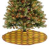 ThinkingPower Falda de árbol marroquí Zellige azulejos decorativos de Navidad para suministros de fiesta de Navidad, gran diámetro de 30 pulgadas