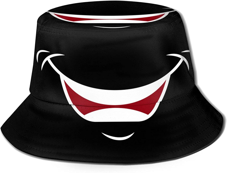 Cartoon Cute Laughing Image Bucket Hats Beautiful Summer Travel Beach Sun Hat Black