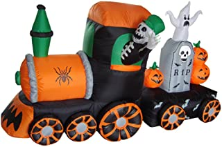 BZB Goods 7 Foot Long Halloween Inflatable Skeleton on Train LED Lights Outdoor Indoor Holiday Decorations, Blow up Lighted Yard Decor, Giant Lawn Inflatable Home Garden Party Favor Decoration