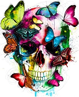 YEESAM ART Paint by Numbers for Adults, Colorful Skull & Butterflies, Halloween 16x20 inch Linen Canvas, DIY Number Painting