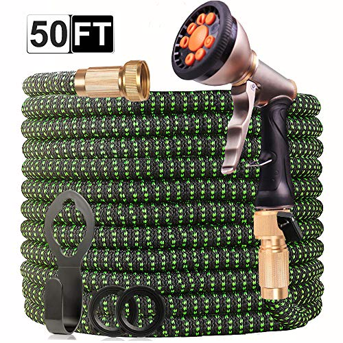 [Upgraded 2019] Garden Hose 50 Ft | Expandable Garden Water Hose with 4-Layers Latex | Superior Strength 3750D Flexible Water Hose | Extra-Strong Brass Connectors | 8-Way Durable Zinc Spray Nozzle