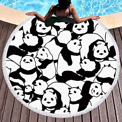 STJGOOD Fibra Ultrafina Panda Toalla De Playa Vacaciones De Playa Baño Camping Gimnasio Ejercicio