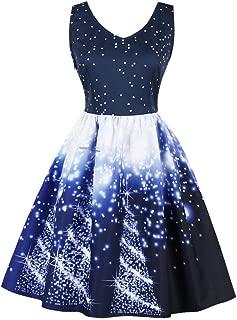 2019 Christmas Dress, Plus Size Womens Santa Christmas Party Dress Vintage Xmas Swing Skater Dress
