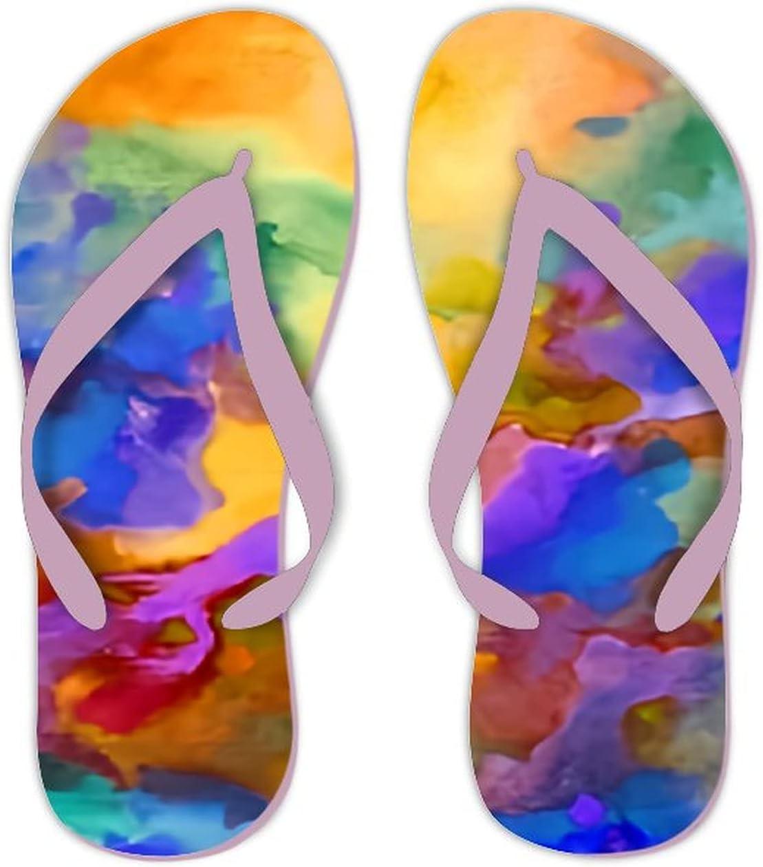 UTF4C Summer Flip Flops for Men Women Abstract Bright Colorful Soft Lightweight Non Slip Sandals for Shower Beach Pool Bathroom Flat 10