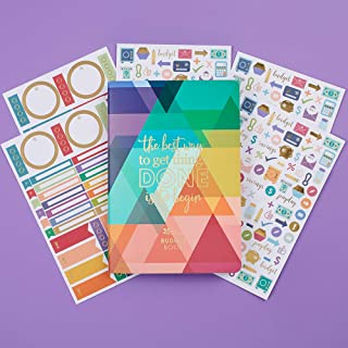 Erin Condren Designer Petite Planner with Extra Functional and Decorative Sticker Packs - Budget Book Edition 2 Bundle