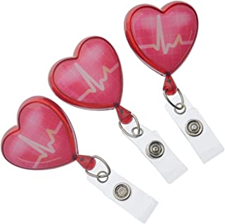 Specialist ID - 3 Pack of Heart Shaped EKG Cardiac Badge Reels with Alligator Swivel Clip on Back - Premium Retractable Badge Lanyards for Nurses and More (Red)