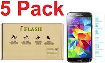 iFlash [5 Pack] Tempered Glass Screen Protector for Samsung Galaxy S5 (SM-i9700) - Crystal Clear / 2.5D Rounded Edges / 9H Hardness/Scratch Proof/Bubble Free/Oleophobic Coating
