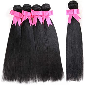 DreamDiana Natural Black Synthetic Straight 5 Bundles 300Gm High High Temperature Synthetic Weaving Extensions Heat Resistant Hair 18 inch