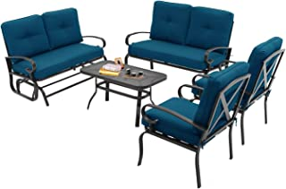 Incbruce Outdoor Indoor Furniture 6Pcs Patio Conversation Set (Swing Glider, Loveseat, Coffee Table, 2 Lounge Chairs) Swing Glider Chair and Wrought Iron Chair Sets, Peacock Blue Cushions