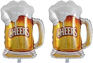 TOYMYTOY Beer Mug Cheers Shape Foil Balloons,Mylar Helium Balloons Party Decor,2 Pcs