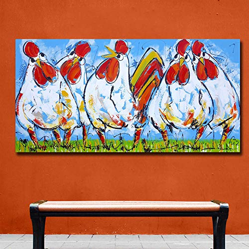 Karen Max 1 Piece Pop Art Oil Painting Four Rooster Home Decor on Canvas Modern Wall Art Canvas Print Poster Canvas Painting