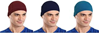 The Blazze Cotton Helmet Cap (Free Size, Maroon+Navy+Turquise Blue)