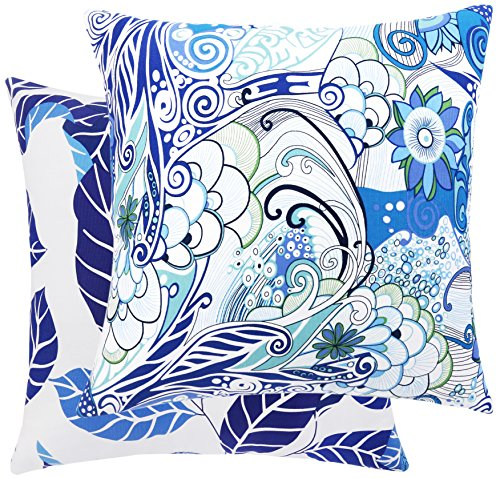 Loom Space Wonderland Collection Paisley and Leaf Cotton Decorative Throw Pillow Cover, 20 x 20-Inch, White/Blue