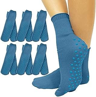 Vive Non Slip Hospital Socks (6) - Anti Skid Rubber Grip - Yoga for Men, Women