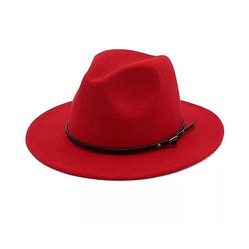 9b408f32 Lanzom Womens Classic Wide Brim Floppy Panama Hat Belt Buckle Wool Fedora  Hat
