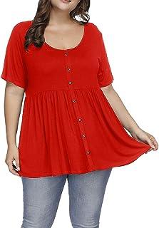 f7b1b7bfe8e Allegrace Women s Plus Size Henley Scoop Neck Button Tunic Tops Short Sleeve  Swing Flowy Shirts