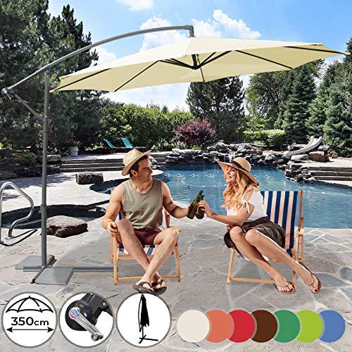 MIADOMODO Ombrellone Decentrato - Diametro 3,5 m, Inclinabile, Protezione UV 30+, Chiusura a Manovella, Colore a Scelta - Ombrellone da Giardino a Braccio, da Spiaggia, Terrazzo, Balcone (Beige)