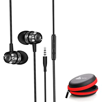 WeCool Mr.Bass W001 Snug Fit Metallic in Ear Earphones for Mobile with Mic | | Headphones for Mobile | | Earphones for Mobile | | + Free Carry Case (Black)