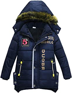 SUNBIBE Warm Coat for 3-7 Years Toddler Baby Boys Letter Print Winter Hooded Windproof Kids Jacket Hoodie