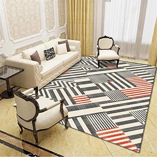 Teppich Room Decoration Schwarzer roter gestreifter geometrischer Teppich atmungsaktiver Komfort und schmutzloses Anti-Rutsch Wohnzimmer Room deko deko Zimmer Tumblr 200*300cm