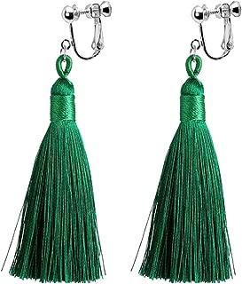Bohemian Green Long Tassel Silk Fringe Thread Clip on Earrings Crystal Fan Cloth Jewelry for Girls Women