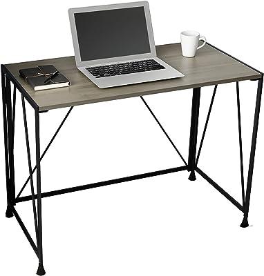 sogesfurniture Table Pliable Bureau d'ordinateur Table Informatique de Travail Simple Design, Table de Bureau Table de Travail en Bois et Acier, 99x50x70.5cm, Gris BHEU-AGJJ-D02-99T