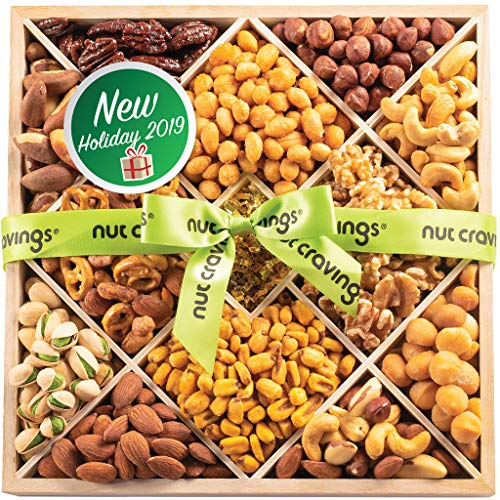 Holiday Mixed Nuts Wood Gift Box – Gourmet 12 Section Assortment of Nuts, Pretzel Mix & Other Salty, Savory Snacks for Christmas, Holiday or Corporate – Large Prime Delivery Variety in Sectional Tray