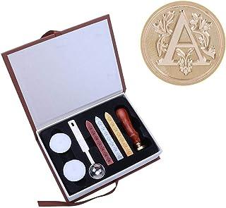 Juego de sellos de cera con letras del alfabeto inglés antiguo, sellos de cera de