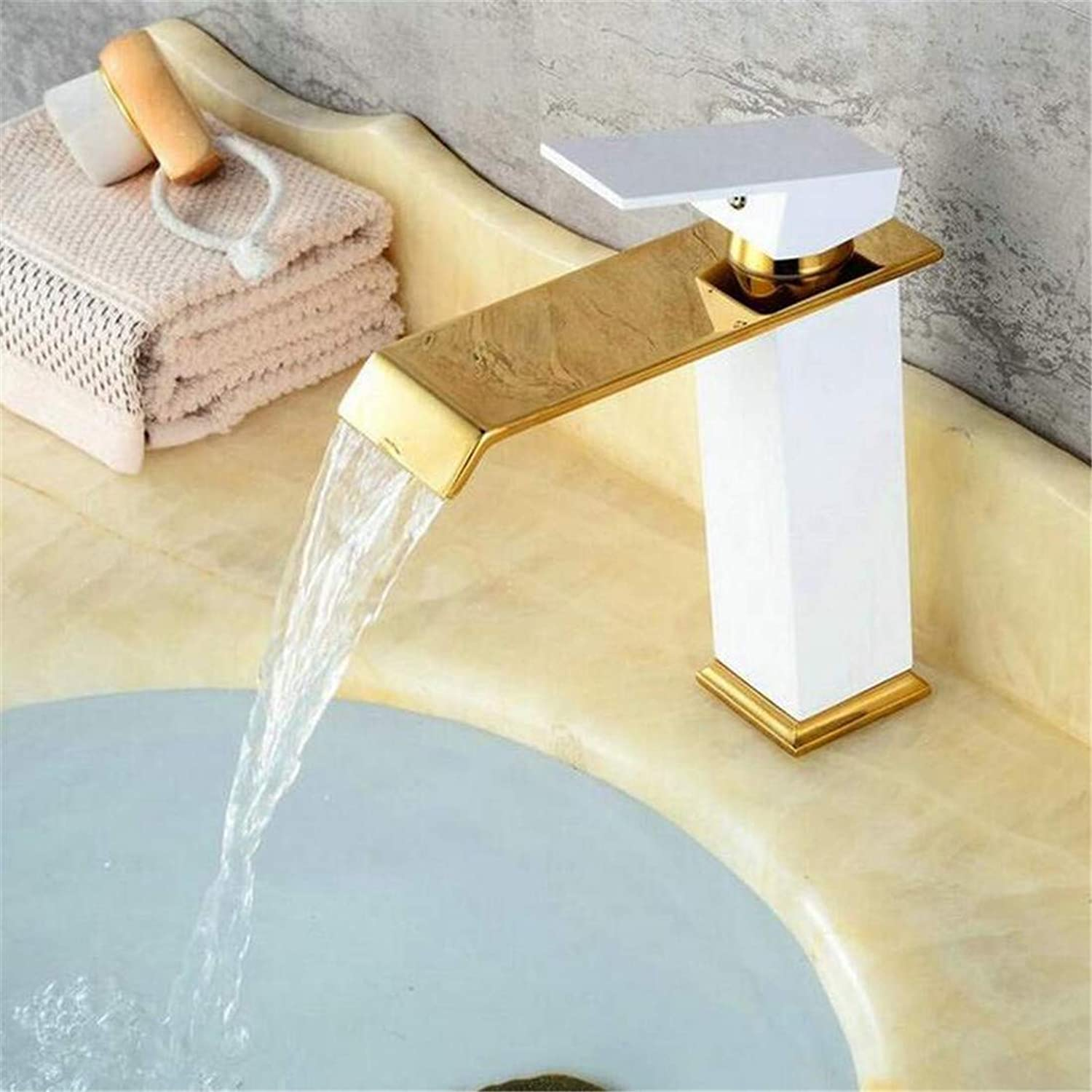 Retro Hot and Cold Faucet Vintage Platingfaucets Basin Mixer Brass White and gold Plated Bathroom Faucet Square Basin Faucet