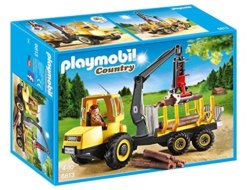 Playmobil Vida en el Bosque - Country Transportador de Leña con Grúa Playsets de Figuras de jugete, Color Multicolor (Playmobil 6813)