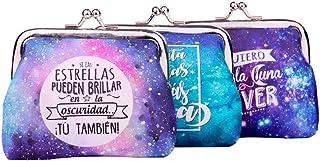 Lote 24 Monederos Universo Galaxia con Frases - Monederos Originales y Baratos para Detalles de Bodas, Bautizos, Comunione...