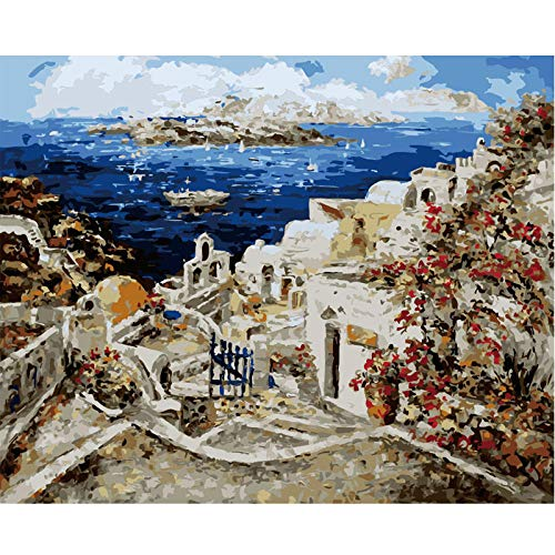 DIY 5D Diamond Painting Kits for Adults,Crystal Rhinestone Diamond Embroidery Paintings Pictures Arts Craft for Relaxation and Home Wall Decor - Aegean Sea,16 x 16 inch