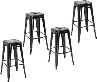 HOMCOM Lot de 4 tabourets de Bar Industriel empilables Hauteur Assise 76 cm métal Noir